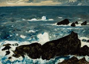 藤島武二「岩と波(潮岬)」1931年.jpg